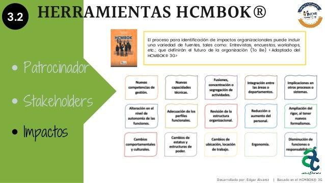 3.2 HERRAMIENTAS HCMBOK® Patrocinador Stakeholders Impactos Desarrollado por: Edgar Alvarez | Basado en el HCMBOK® 3G El p...
