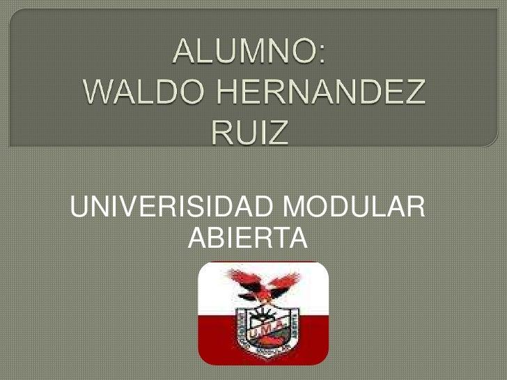 ALUMNO:WALDO HERNANDEZ RUIZ <br />UNIVERISIDAD MODULAR ABIERTA<br />