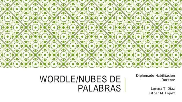 WORDLE/NUBES DE  PALABRAS  Diplomado Habilitacion  Docente  Lorena T. Diaz  Esther M. Lopez
