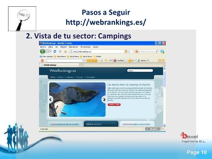 Pasos a Seguir            http://webrankings.es/ 2. Vista de tu sector: Campings                                         P...