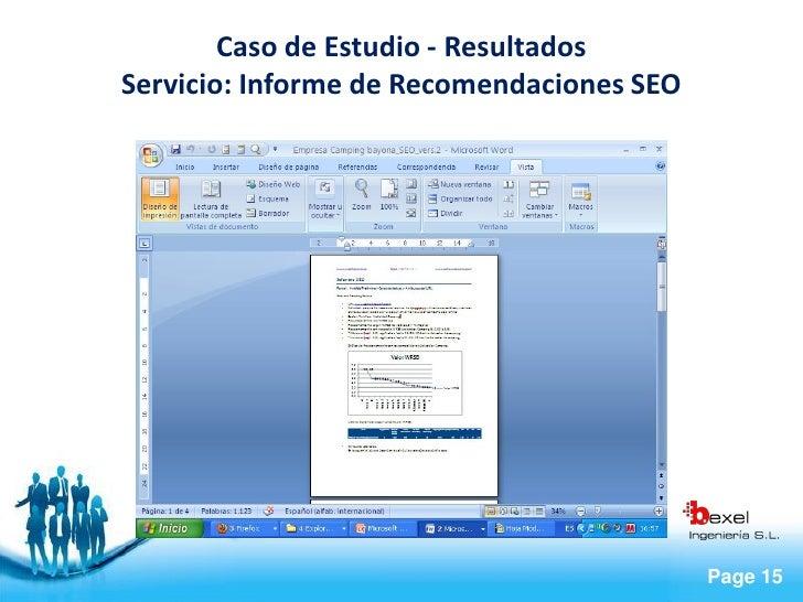 Caso de Estudio - Resultados Servicio: Informe de Recomendaciones SEO                                                Page ...