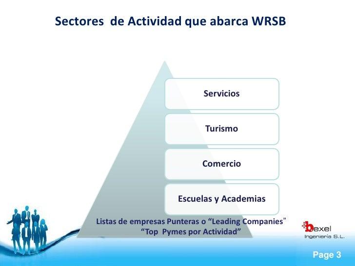 Sectores de Actividad que abarca WRSB                                      Servicios                                     T...