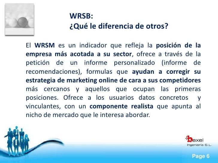WRSB:               ¿Qué le diferencia de otros?  El WRSM es un indicador que refleja la posición de la empresa más acotad...