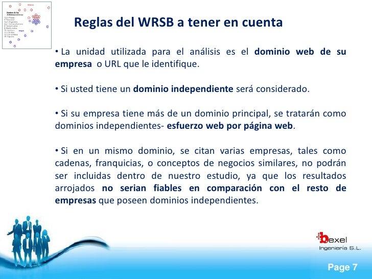 Reglas del WRSB a tener en cuenta • La unidad utilizada para el análisis es el dominio web de su empresa o URL que le iden...