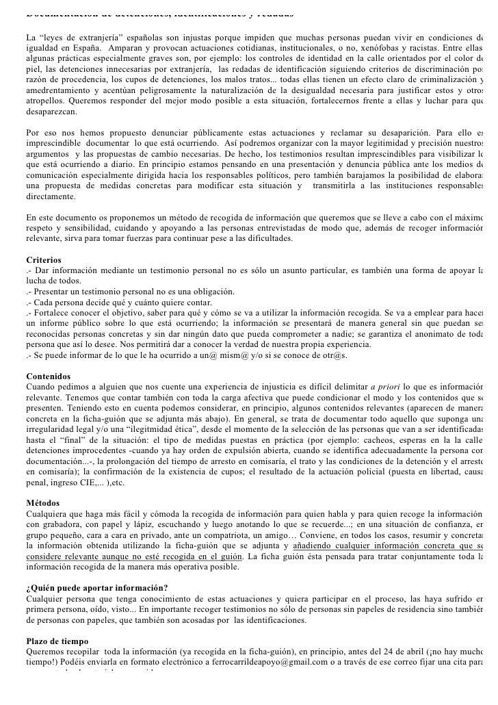 """Documentación de detenciones, identificaciones y redadas  La """"leyes de extranjería"""" españolas son injustas porque impiden ..."""