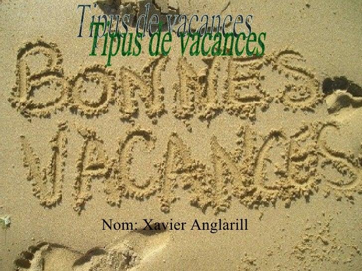 Nom: Xavier Anglarill Tipus de vacances