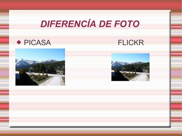 DIFERENCÍA DE FOTO  PICASA FLICKR