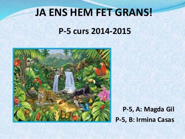 JA ENS HEM FET GRANS!  P-5 curs 2014-2015  P-5, A: Magda Gil  P-5, B: Irmina Casas