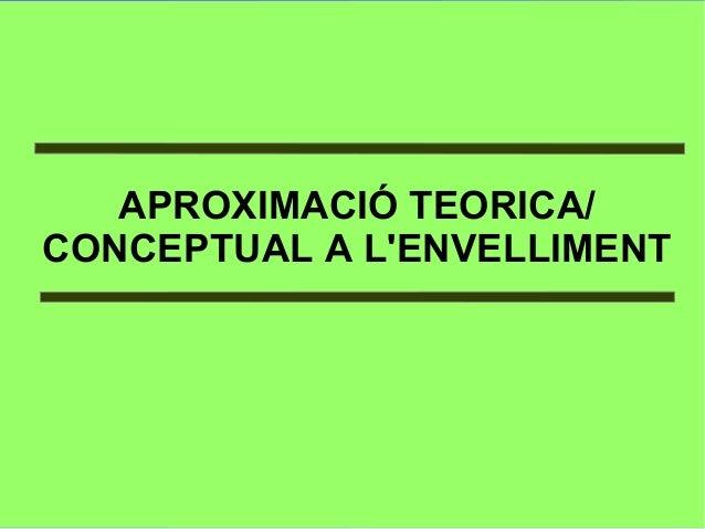 APROXIMACIÓ TEORICA/ CONCEPTUAL A L'ENVELLIMENT
