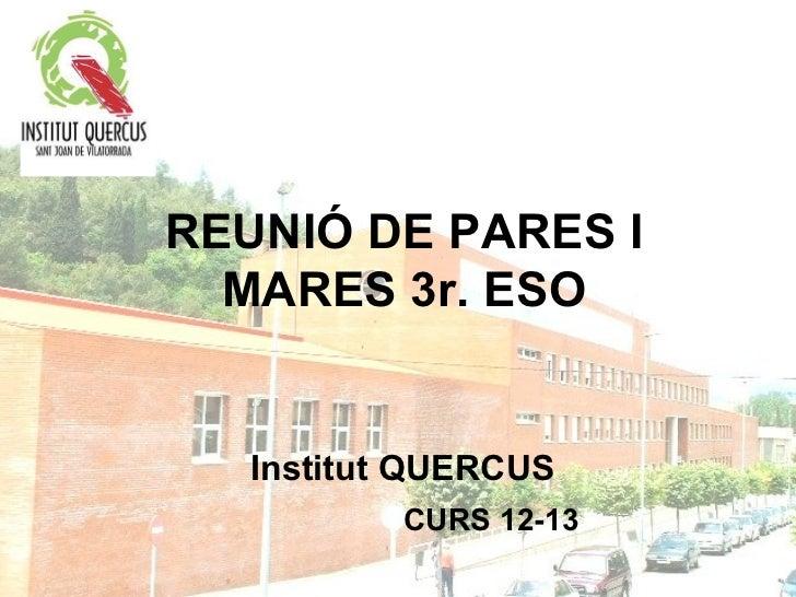 REUNIÓ DE PARES I  MARES 3r. ESO   Institut QUERCUS           CURS 12-13