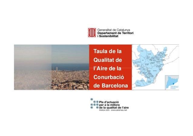 Taula de la Qualitat de l'Aire de la Conurbació de Barcelona [Podeu deixar la pastilla grisa o substituir-la per una imatg...