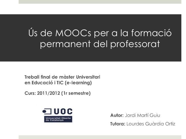 Ús de MOOCs per a la formació permanent del professorat
