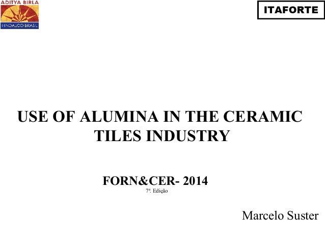USE OF ALUMINA IN THE CERAMIC  TILES INDUSTRY  Marcelo Suster  FORN&CER- 2014  7ª. Edição
