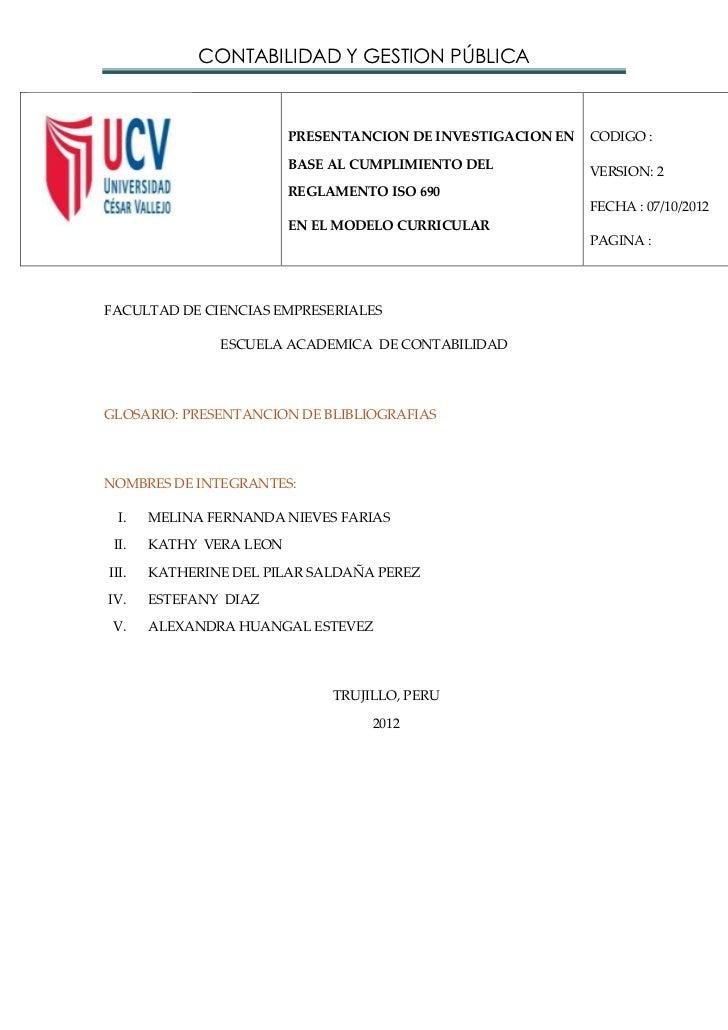 CONTABILIDAD Y GESTION PÚBLICA                         PRESENTANCION DE INVESTIGACION EN   CODIGO :                       ...