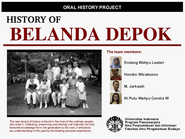 ORAL HISTORY PROJECTHISTORYOFBELANDA DEPOK                                                                           The ...
