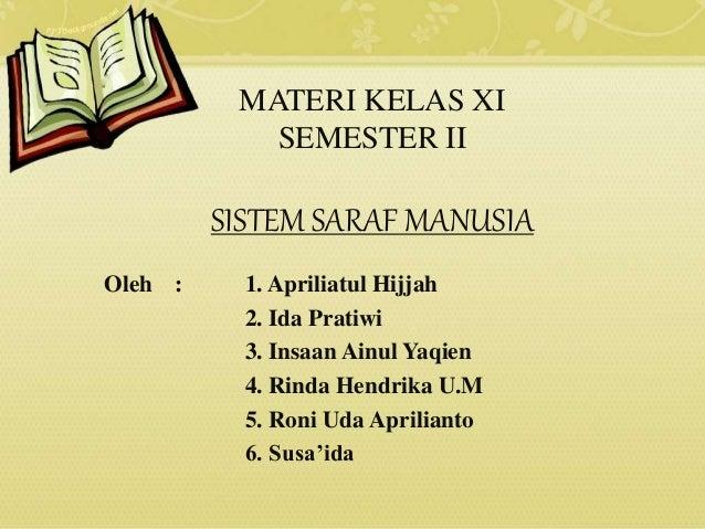MATERI KELAS XI SEMESTER II SISTEM SARAF MANUSIA Oleh : 1. Apriliatul Hijjah 2. Ida Pratiwi 3. Insaan Ainul Yaqien 4. Rind...