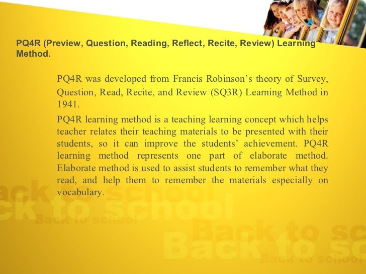 sq3r reading approach thesis A comparative study of the effects of affective response  when applied to reading in the content areas thesis  top down approach the technique of teaching reading.