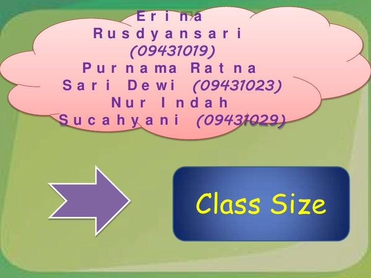 Manajemen Pembelajaran-Class Size Slide 2