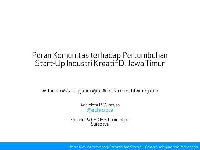 Peran Komunitas terhadap Pertumbuhan Start-Up Industri Kreatif Di JawaTimur #startup #startupjatim #jitc #industrikreatif ...