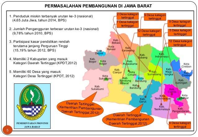 PERMASALAHAN PEMBANGUNAN DI JAWA BARAT  Daerah Tertinggal  (Kementrian Pembangunan  Daerah Tertinggal,2012)  Daerah Tertin...