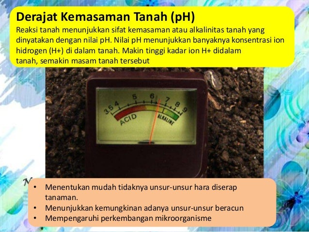 Derajat Kemasaman Tanah (pH)Reaksi tanah menunjukkan sifat kemasaman atau alkalinitas tanah yangdinyatakan dengan nilai pH...