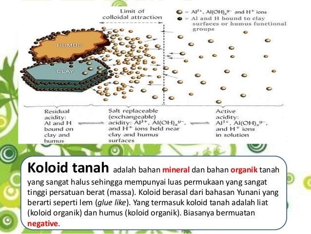 Koloid tanah adalah bahan mineral dan bahan organik tanahyang sangat halus sehingga mempunyai luas permukaan yang sangatti...