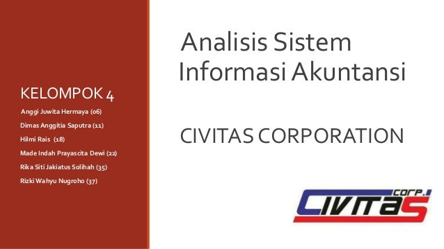 KELOMPOK 4 Analisis Sistem Informasi Akuntansi CIVITAS CORPORATION Anggi Juwita Hermaya (06) Dimas Anggitia Saputra (11) H...