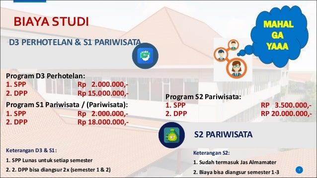 BIAYA STUDI Program D3 Perhotelan: 1. SPP Rp 2.000.000,- 2. DPP Rp 15.000.000,- Program S1 Pariwisata / (Pariwisata): 1. S...