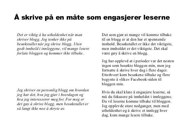 hvordan skrive blogg Mosjøen
