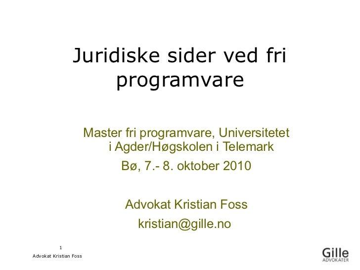 Juridiske sider ved fri                      programvare                        Master fri programvare, Universitetet     ...