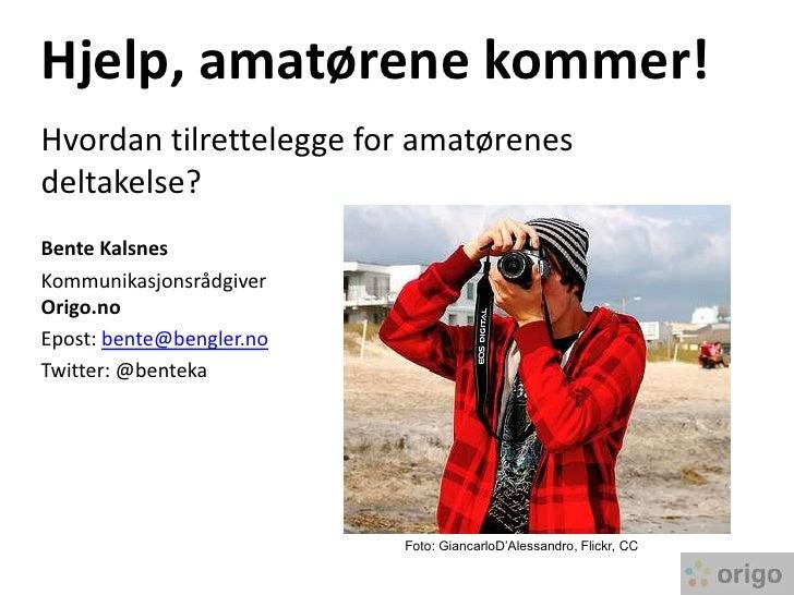Hjelp, amatørene kommer! Hvordan tilrettelegge for amatørenes deltakelse? Bente Kalsnes Kommunikasjonsrådgiver Origo.no Ep...