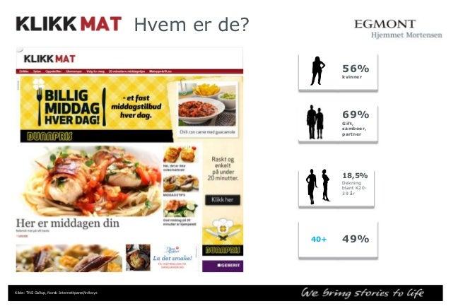 – hvor bor de Klikk Mat 60  50  40  30  Klikk Mat  20  10  0 Oslo/Akershus,Østlandet ellers  Kilde: TNS Gallup Infosys+ no...