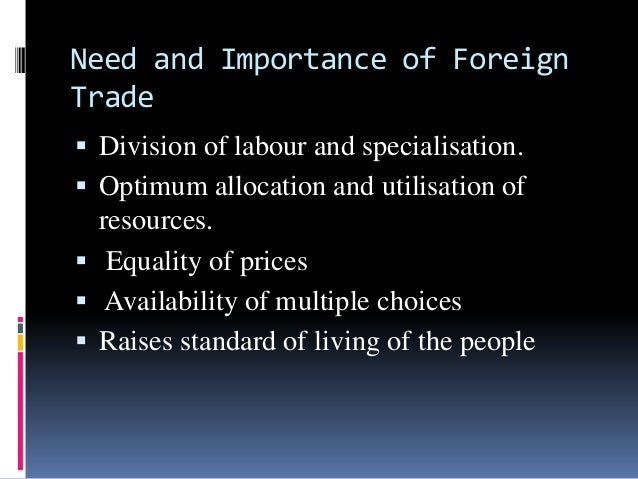 importance of foreign trade policy