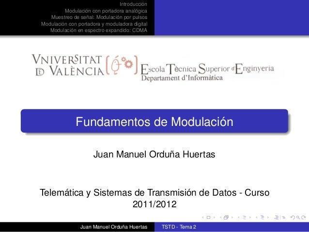 IntroducciónModulación con portadora analógicaMuestreo de señal: Modulación por pulsosModulación con portadora y modulador...