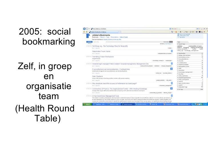 2005:  social bookmarking Zelf, in groep en organisatie team (Health Round Table)