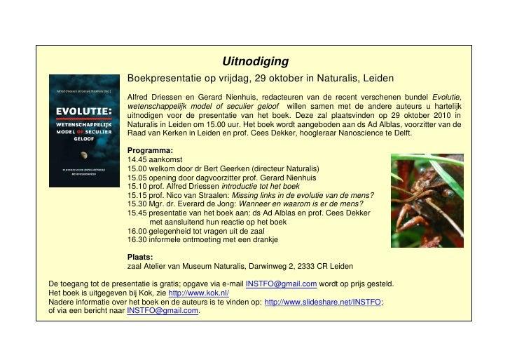 Uitnodiging                       Boekpresentatie op vrijdag, 29 oktober in Naturalis, Leiden                       Alfred...