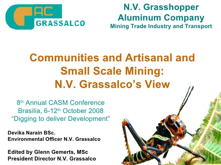N.V. Grasshopper Aluminum Company Mining Trade Industry and Transport Communities and Artisanal and Small Scale Mining: N....