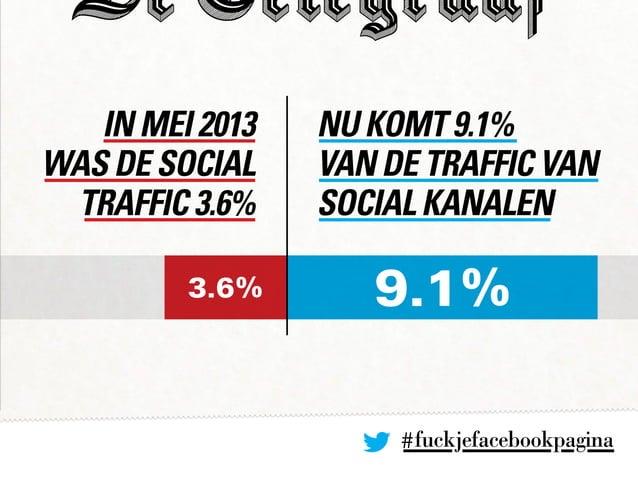 In mei 2013 was de social traffic 3.6% nu komt 9.1% van de traffic van social kanalen 3.6% 9.1% #fuckjefacebookpagina