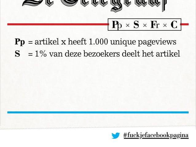 #fuckjefacebookpagina Pp= artikel x heeft 1.000 unique pageviews S = 1% van deze bezoekers deelt het artikel