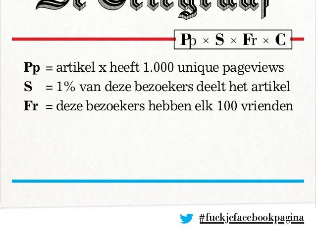 #fuckjefacebookpagina Pp= artikel x heeft 1.000 unique pageviews S = 1% van deze bezoekers deelt het artikel Fr = deze ...