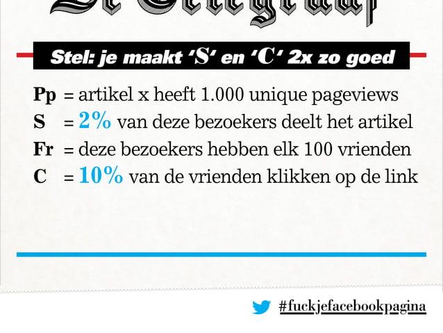 #fuckjefacebookpagina Pp= artikel x heeft 1.000 unique pageviews S = 2% van deze bezoekers deelt het artikel Fr = deze ...