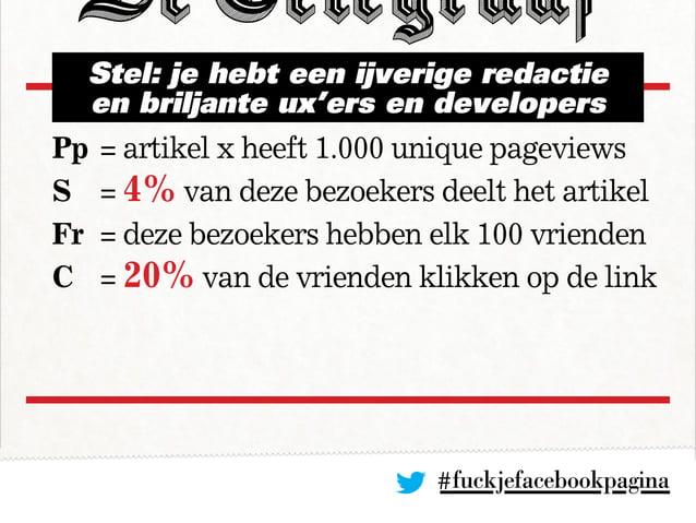 #fuckjefacebookpagina Pp= artikel x heeft 1.000 unique pageviews S = 4% van deze bezoekers deelt het artikel Fr = deze ...