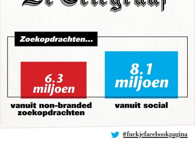 Zoekopdrachten... vanuit non-branded zoekopdrachten vanuit social #fuckjefacebookpagina 6.3 miljoen 8.1 miljoen