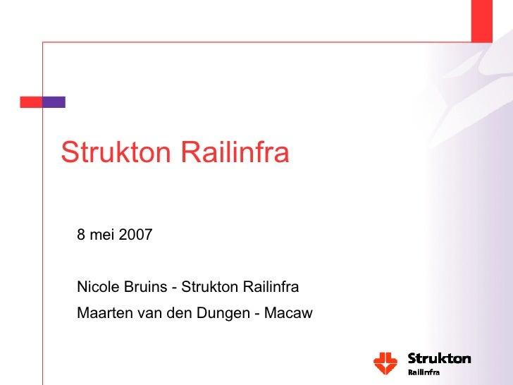 Strukton Railinfra <ul><li>8 mei 2007 </li></ul><ul><li>Nicole Bruins - Strukton Railinfra </li></ul><ul><li>Maarten van d...