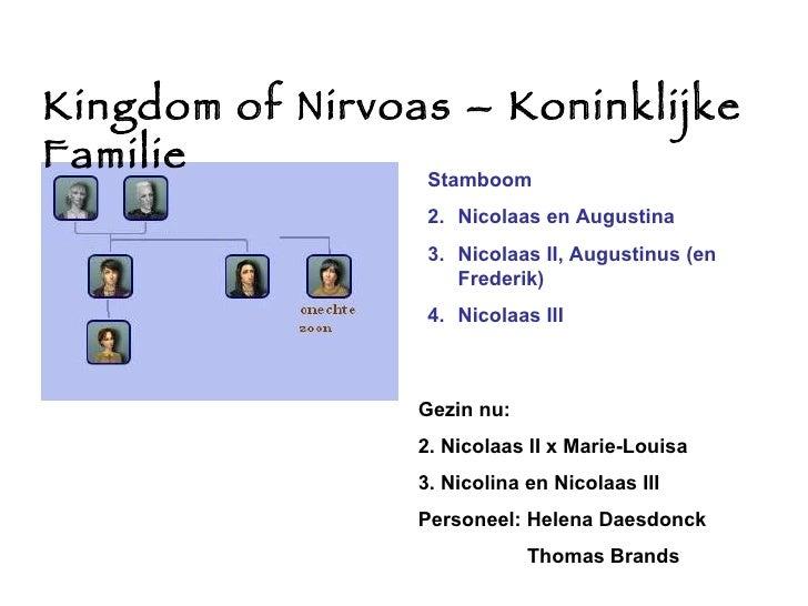 Kingdom of Nirvoas – Koninklijke Familie <ul><li>Stamboom </li></ul><ul><li>Nicolaas en Augustina </li></ul><ul><li>Nicola...