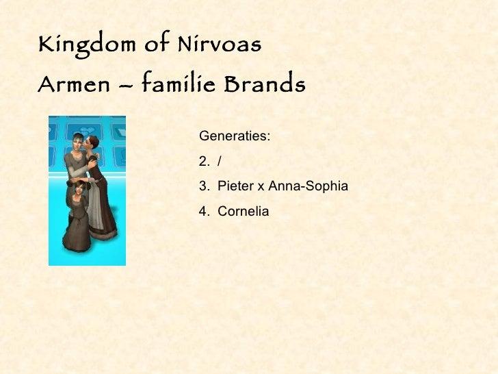 Kingdom of Nirvoas Armen – familie Brands <ul><li>Generaties: </li></ul><ul><li>/ </li></ul><ul><li>Pieter x Anna-Sophia <...