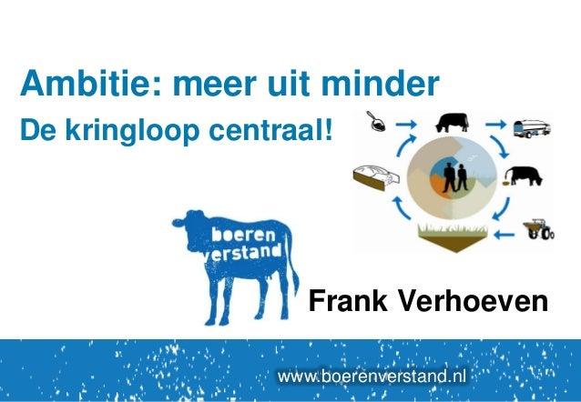 Ambitie: meer uit minder De kringloop centraal!  Frank Verhoeven www.boerenverstand.nl