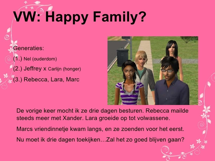 VW: Happy Family? Generaties: (1.)  Nel (ouderdom) (2.) Jeffrey x  Carlijn (honger) (3.) Rebecca, Lara, Marc De vorige kee...