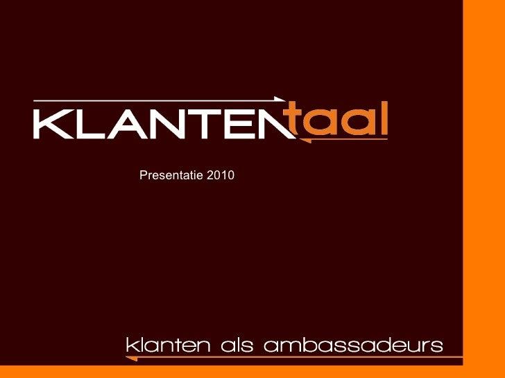 Presentatie 2010