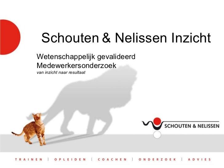 Schouten   & Nelissen Inzicht Wetenschappelijk gevalideerd Medewerkersonderzoek van inzicht naar resultaat